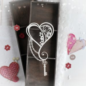 steampunk heart with chain and key decorative laser cut chipboard
