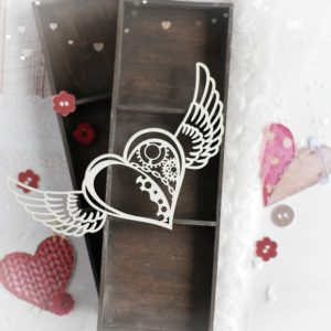steampunk heart with wings decorative laser cut chipboard