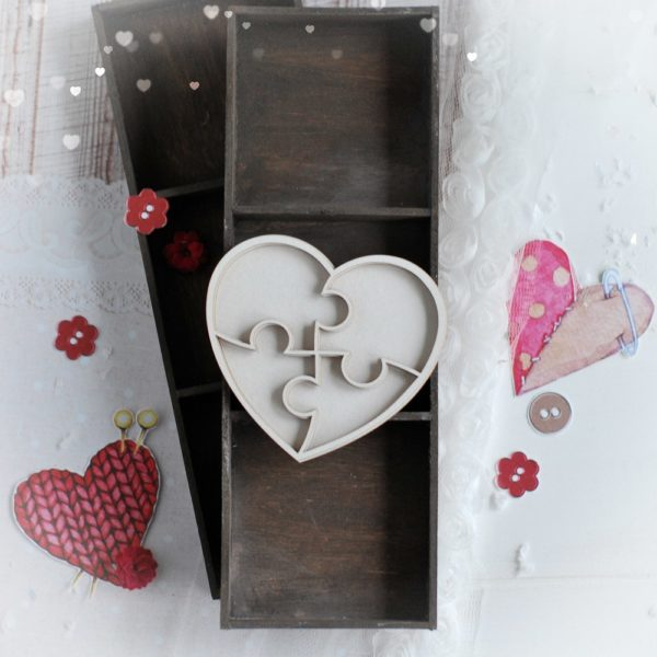 puzzle heart shaker box decorative laser cut chipboard