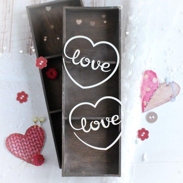 love hearts decorative laser cut chipboard set