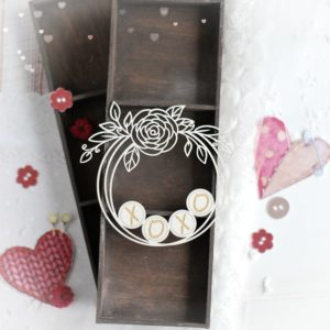 xoxo decorative laser cut chipboard wreath frame with floral arrangements