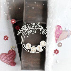 xoxo decorative laser cut chipboard wreath frame with floral arrangements