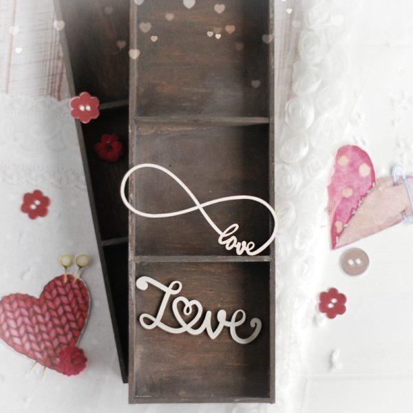 decorative laser cut chipboard love words set