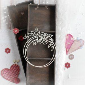 decorative laser cut chipboard wreath frame with floral arrangements