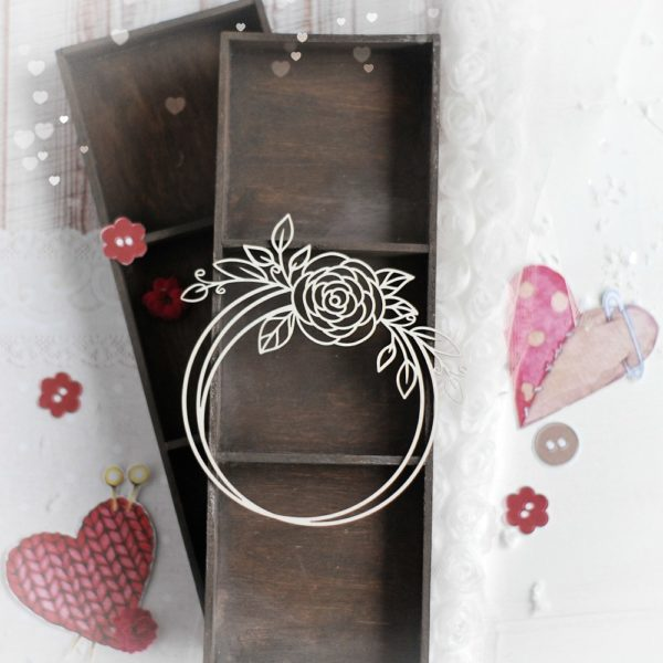decorative laser cut chipboard wreath frame with floral arrangements
