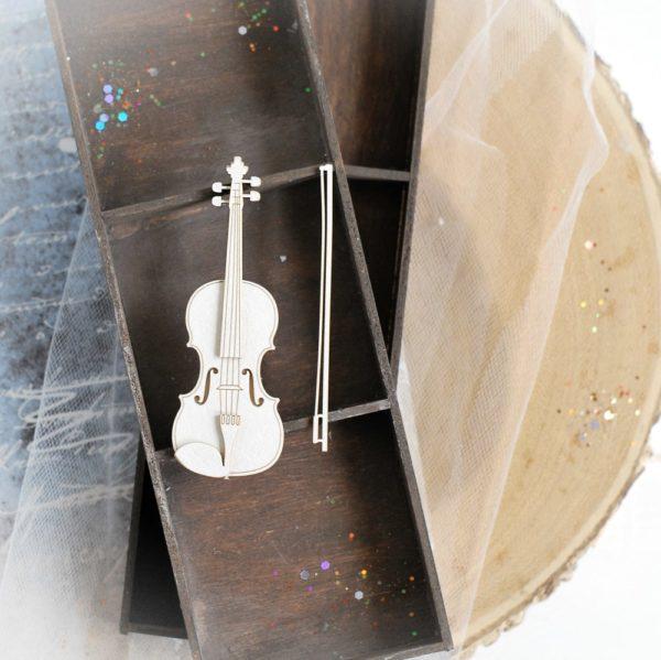 2d small violin decorative laser cut chipboard element
