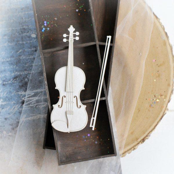 2d large violin decorative laser cut chipboard element