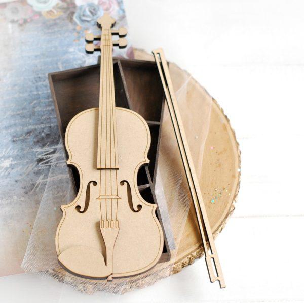decorative laser cut mdf large 2d violin
