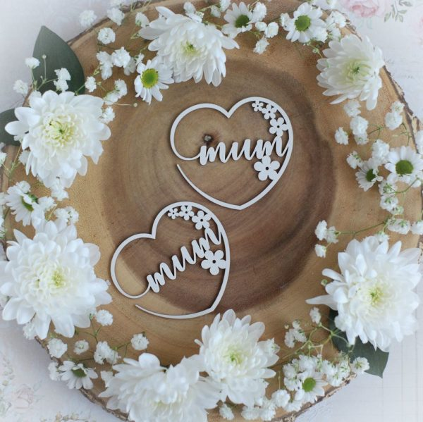 mothers day collection set of two mum hearts with flowers decorative laser cut chipboard