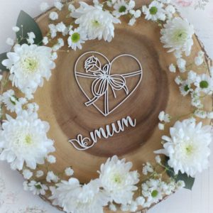 mothers day collection mum word and heart with rose decorative laser cut chipboard elements