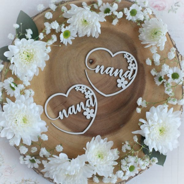 mothers day collection set of two nana hearts with flowers decorative laser cut chipboards