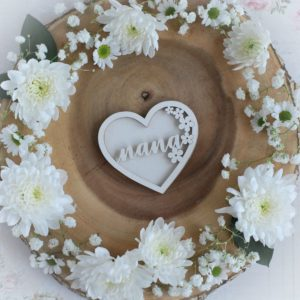 mothers day collection nana heart with flowers shaker decorative laser cut chipboard