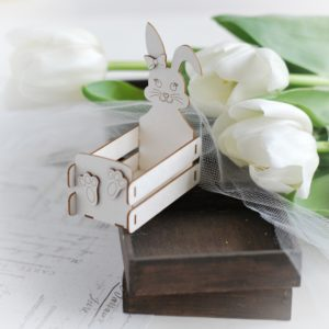 3d easter bunny box decorative laser cut chipboard