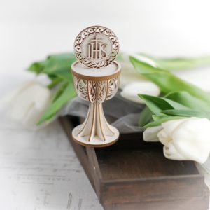 3d first holy communion chalice with ihs decorative laser cut chipboard