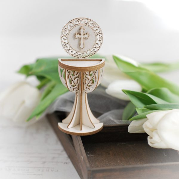3d half first holy communion chalice with cross decorative laser cut chipboard