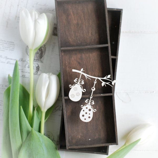 happy easter collection spring branch with eggs decorative laser cut chipboard element