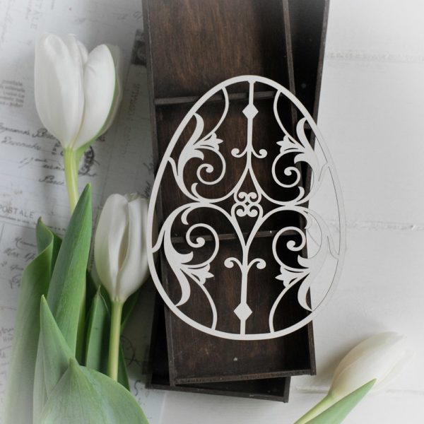happy easter collection large egg decorative laser cut chipboard element