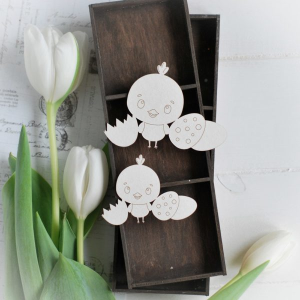 happy easter collection set of two laser cut chipboard elements chicken and eggs