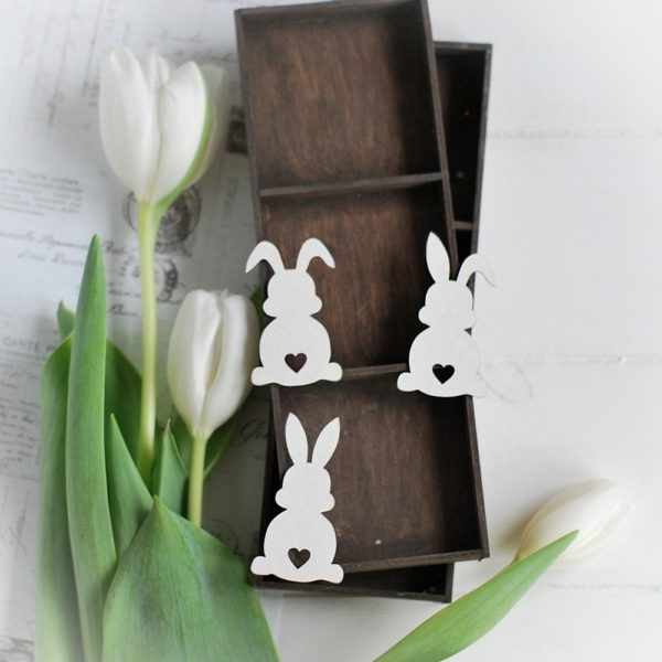 happy easter collection set of 3 bunnies decorative laser cut chipboard elements