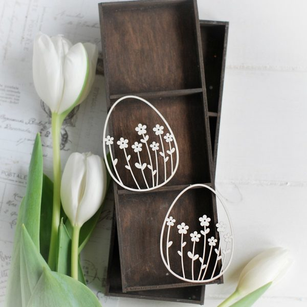 happy easter collection set of 2 eggs with flowers decorative laser cut chipboards
