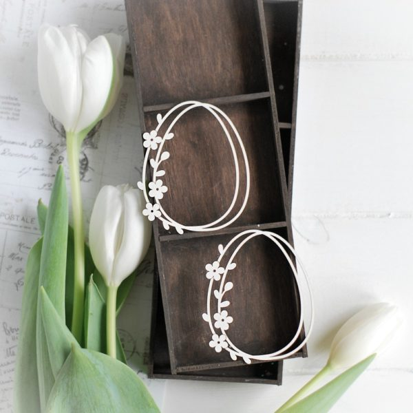 happy easter collection set of two eggs with flowers decorative laser cut chipboard elements