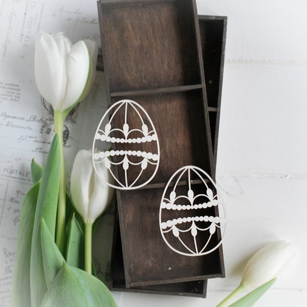 happy easter collection set of two decorative laser cut eggs