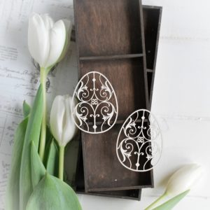 happy easter collection set of two decorative laser cut chipboard eggs