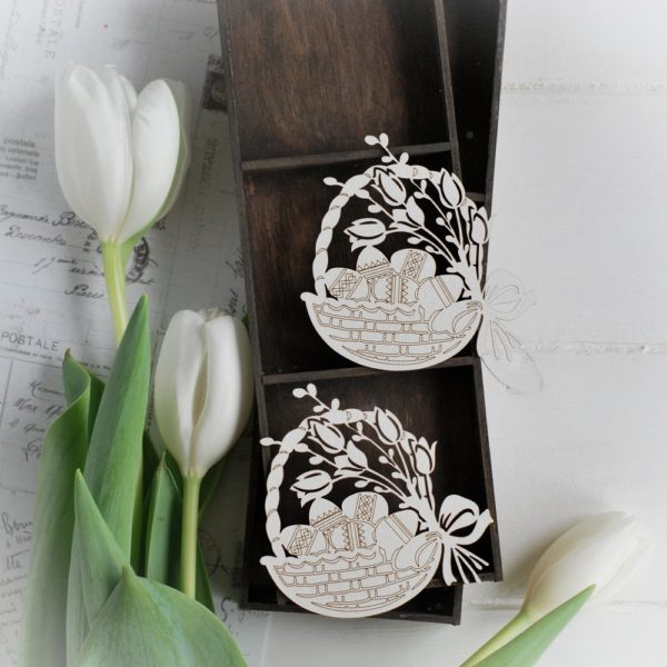 happy easter collection set of two easter basket decorative laser cut chipboard elements
