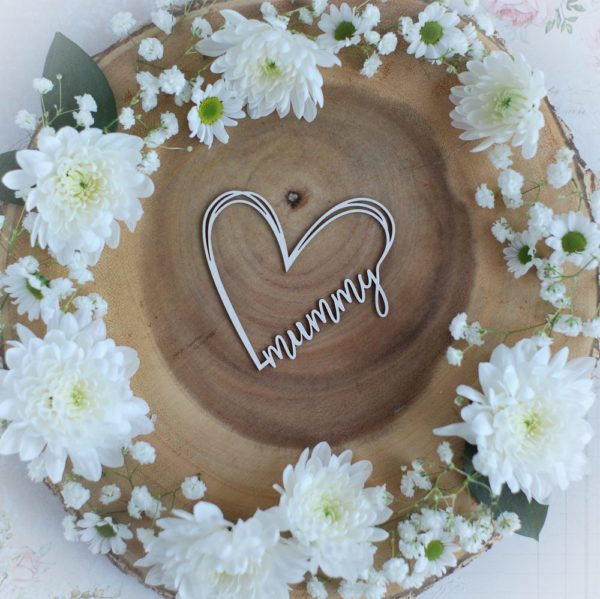 mothers day collection mummy heart decorative laser cut chipboard element