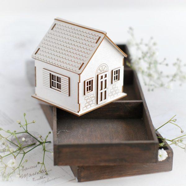 3d little house decorative laser cut chipboard element