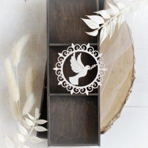christening baptism frame with dove decorative laser cut chipboard