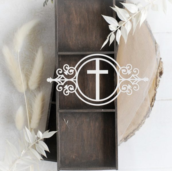 baptism christening frame with cross decorative laser cut chipboard