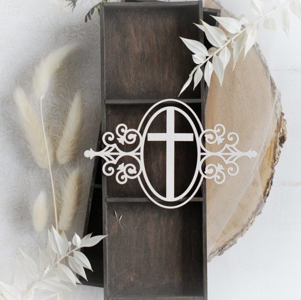 christening baptism oval frame with cross decorative laser cut chipboard