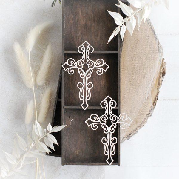 set of two cross decorative laser cut chipboard elements