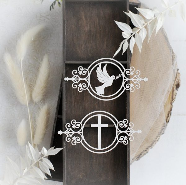 small frame with cross and frame with dove set of decorative laser cut chipboard elements