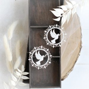 christening baptism set of two frames with dove decorative laser cut chipboards