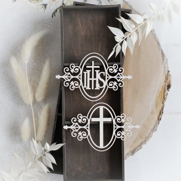 first holy communion frame with cross and ihs decorative laser cut chipboard