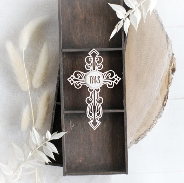 first holy communion ihs-cross decorative laser cut chipboard