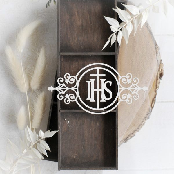 first holy communion ihs round frame decorative laser cut chipboard