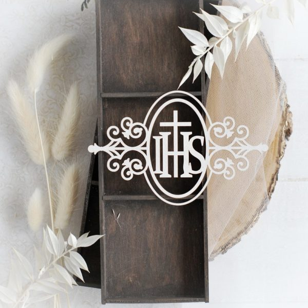 first holy communion ihs oval decorative laser cut chipboard frame