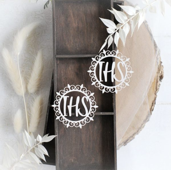 first holy communion set of two ihs host decorative laser cut chipboards