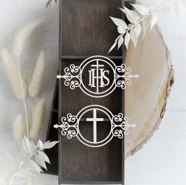 first holy communion set of two frames with ihs and cross decorative laser cut chipboard