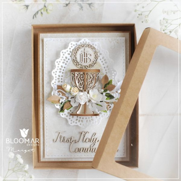 personalised handmade luxury first holy communion card in box