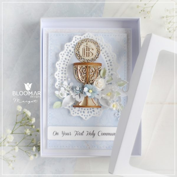 personalised handmade luxury first holy communion card for a boy