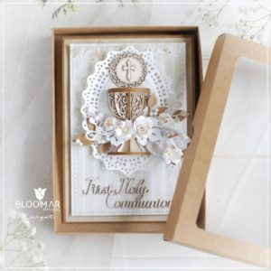 personalised handmade luxury first holy communion card in box with 3d chalice
