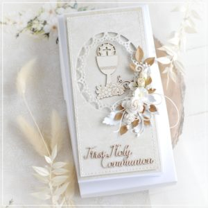 personalised first holy communion card decorated with bloomar designs chalice chipboard