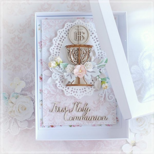 personalised first holy communion card for a girl with 3d chalice chipboard